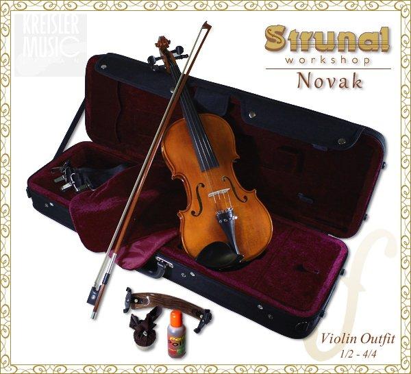 画像1: Strunal ◆高級バイオリンセット Novak (ペルナンブーコ弓付き)アンティーク仕上げ◆チェコ製 4/4サイズ (1)