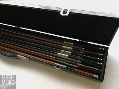 画像1: 弓ケース◆6本収納 オールマイティー(バイオリン・ビオラ・チェロ弓用)◆ブラックレザー調 高級感あり♪