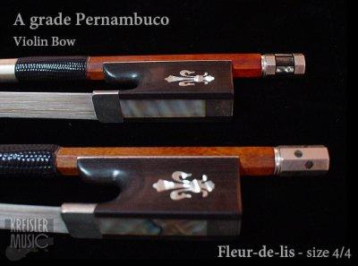 画像1: バイオリン弓◆上質 A ペルナンブーコ◆イリス紋章・純銀・貝細工 VII