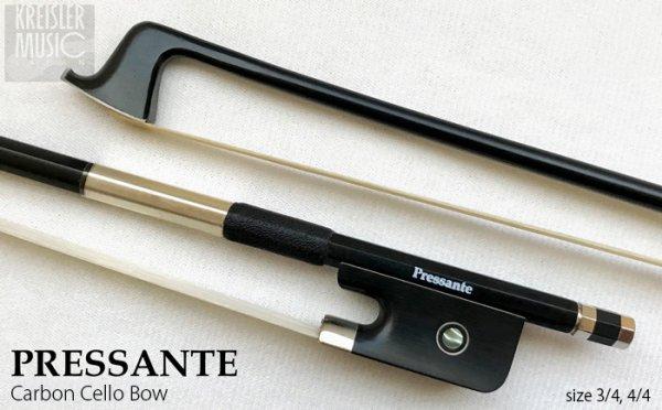 画像1: チェロ弓◆PRESSANTE 良質カーボン◆白銅仕様 4/4サイズ (1)