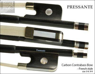 画像1: コントラバス弓◆PRESSANTE 良質カーボン◆フレンチ 白銅仕様 3/4(4/4共用)サイズ