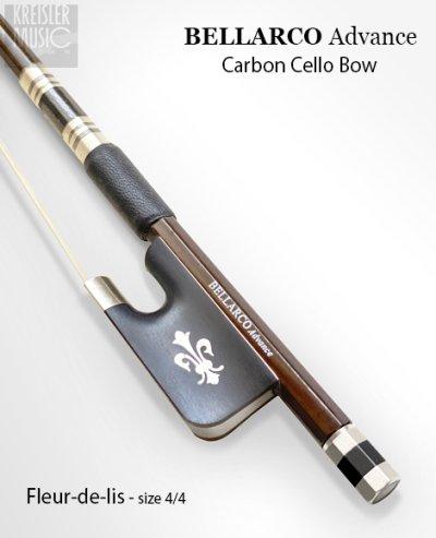 画像1: チェロ弓◆Bellarco Advance 厳選ブラウンカーボン◆イリス紋章・白銅仕様 4/4サイズ