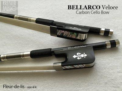 画像1: チェロ弓◆Bellarco Veloce 上質カーボン◆イリス紋章・白銅仕様 4/4サイズ
