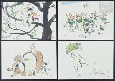 画像2: 絵はがき◆雨田シリーズ 愛のあいさつVI 8枚セット◆ほっこり可愛い♪癒し猫